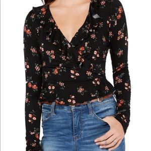 American Rag Floral Peplum blouse S NWT